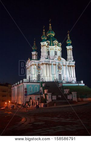 St. Andrew's Church in Kiev evening lights. Ukraine