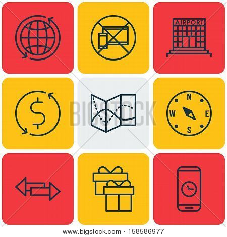 Set Of Airport Icons On Present, Crossroad And Road Map Topics. Editable Vector Illustration. Includes Around, Compass, Direction And More Vector Icons.
