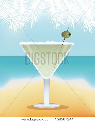 cocktail martini yellow background vector illustration eps 10