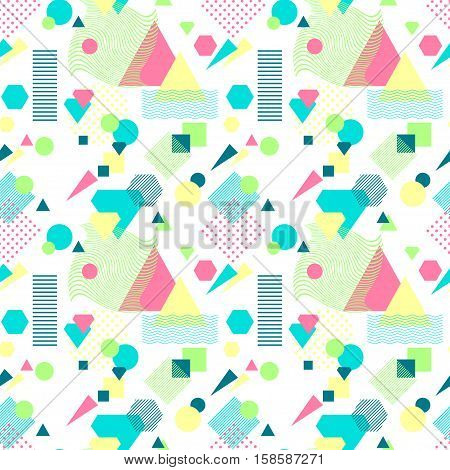 Abstract seamless pattern from geometric form in postmodern Memphis Style on white background for wallpaper or package or for clothes for decoration childish school subject or for creative design