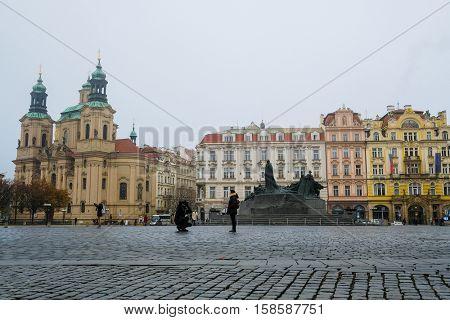 Prague, Czechia - November, 21, 2016: St. Nicholas Church on Old Town Square in Prague, Czechia