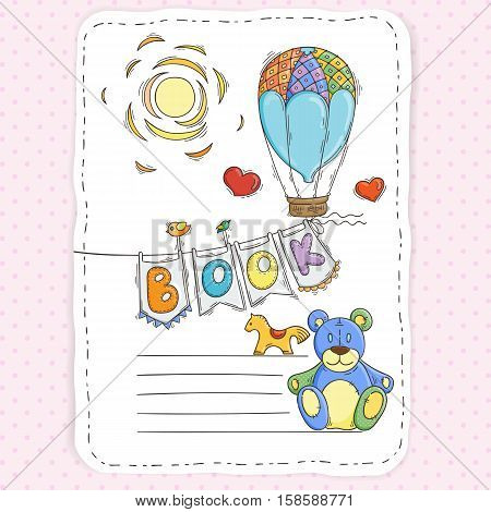 Vector doodle page for kids and children. Balloon and festive garland of flags. Child magazine.