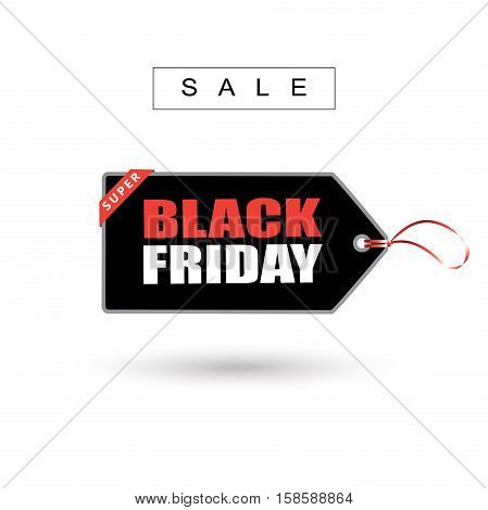 Black Friday price tag sticker on white background. Vector illustration.