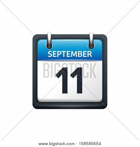 September 11. Calendar icon.Vector illustration, flat style.Month and date.Sunday, Monday, Tuesday, Wednesday, Thursday, Friday, Saturday.Week, weekend, red letter day. 2017, 2018 year.Holidays.