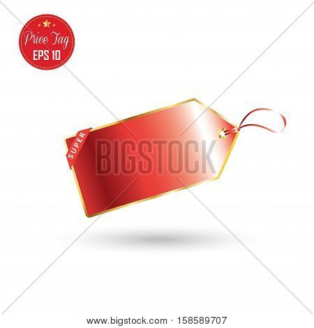 Price tag sticker in red color isolated on white background. Vector illustration.