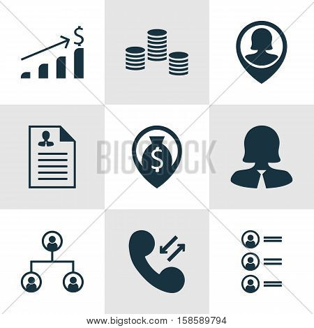 Set Of Human Resources Icons On Curriculum Vitae, Business Woman And Successful Investment Topics. Editable Vector Illustration. Includes Dollar, Career, Organisation And More Vector Icons.