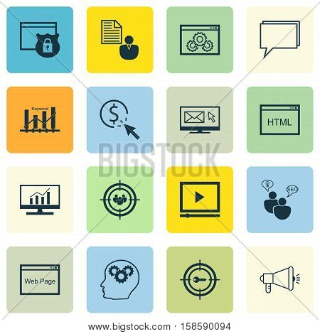 Set Of Marketing Icons On Media Campaign, Security And Market Research Topics. Editable Vector Illustration. Includes HTML, Target, Per And More Vector Icons.