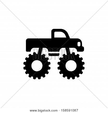 Monster truck icon, side view silhouette. Isolated vector illustration.