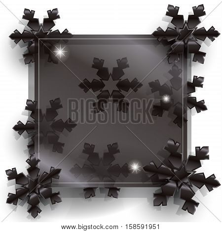 Abstract luxury background. Card with black snowflakes. For Black Friday Sale discount design. Holiday Sale Advertising web banner. Vector illustration.