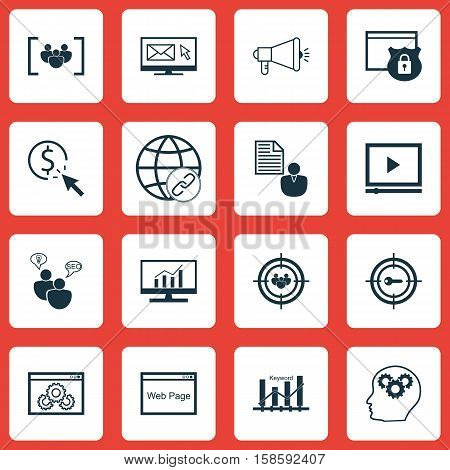 Set Of Marketing Icons On Keyword Optimisation, Website And Connectivity Topics. Editable Vector Illustration. Includes Group, Email, Bulding And More Vector Icons.