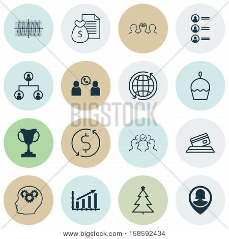Set Of 16 Universal Editable Icons. Can Be Used For Web, Mobile And App Design. Includes Icons Such As Profit Graph, Pin Employee, Report And More.