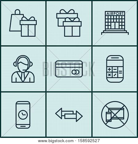 Set Of Travel Icons On Calculation, Plastic Card And Shopping Topics. Editable Vector Illustration. Includes Holiday, Crossroad, Device And More Vector Icons.