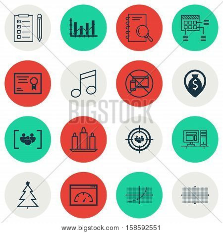 Set Of 16 Universal Editable Icons. Can Be Used For Web, Mobile And App Design. Includes Icons Such As Crotchets, Line Grid, Analysis And More.