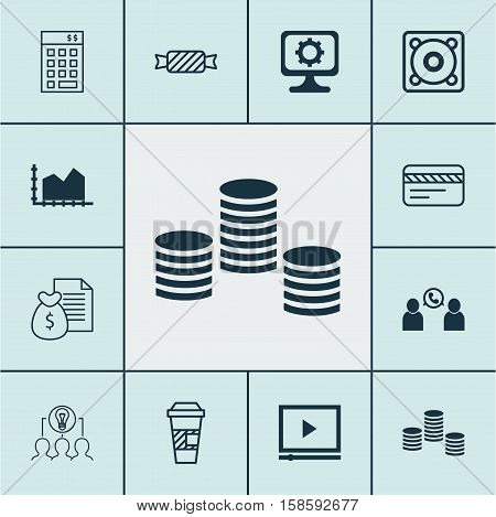 Set Of 12 Universal Editable Icons. Can Be Used For Web, Mobile And App Design. Includes Icons Such As Bank Card, Investment, Takeaway Coffee And More.