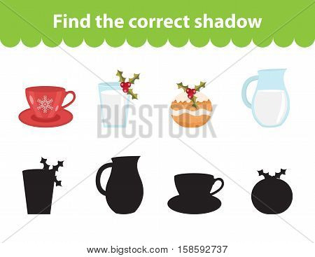 Children s educational game, find correct shadow silhouette. Christmas set for game to find the right shade. Vector illustration