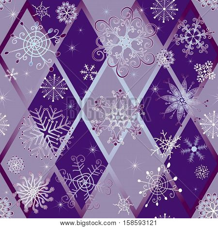 Winter seamless pattern with snowflakes and rhombus vector