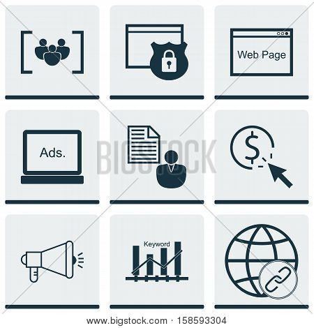 Set Of Advertising Icons On Security, Media Campaign And Questionnaire Topics. Editable Vector Illustration. Includes Businessman, Target, Page And More Vector Icons.