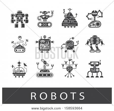Vector set of various types of robots. Collection of robot icons.