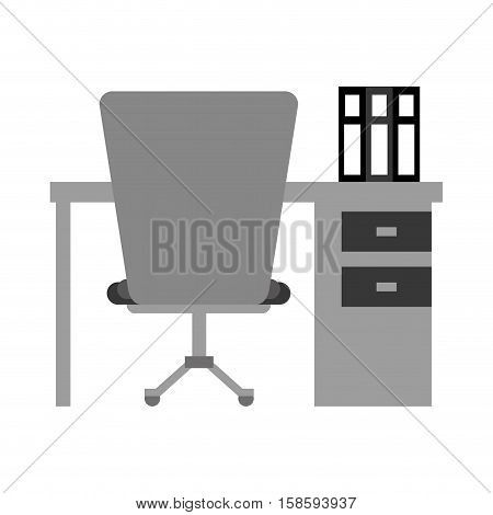worplace desktop computer books chair monochromatic vector illustration eps 10