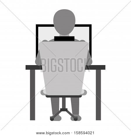 guy back working laptop chair desk monochromatic vector illustration eps 10