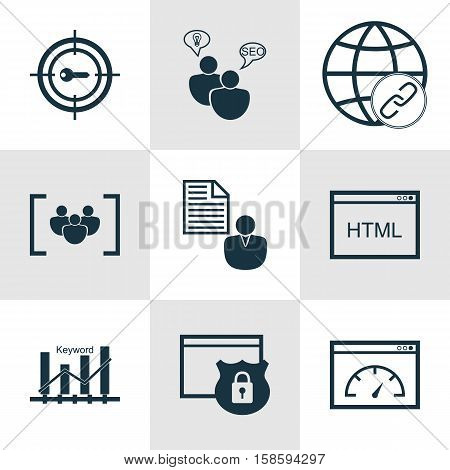 Set Of Advertising Icons On Security, Keyword Optimisation And Questionnaire Topics. Editable Vector Illustration. Includes Optimization, Research, Code And More Vector Icons.