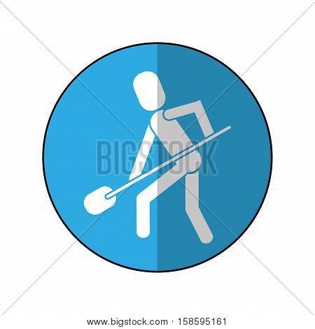man shovel digging work construction-blue circle shadow vector illustration eps 10