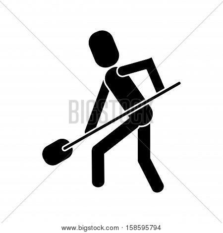 man shovel digging work construction pictogram vector illustration eps a