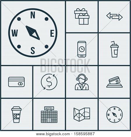 Set Of Transportation Icons On Present, Operator And Credit Card Topics. Editable Vector Illustration. Includes Transfer, Phone, Locate And More Vector Icons.