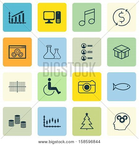 Set Of 16 Universal Editable Icons. Can Be Used For Web, Mobile And App Design. Includes Icons Such As Job Applicants, Stock Market, Decorated Tree And More.