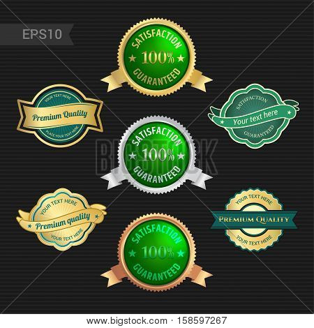 Set of satisfaction guarantee and premium quality emblem or badge with award ribbon in green color tone