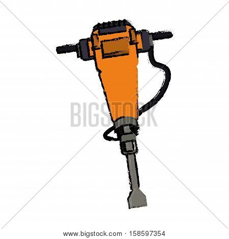 jackhammer construction tool design drawing vector illustration eps 10