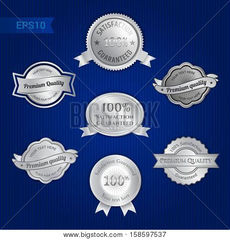 Set of satisfaction guarantee and premium quality emblem or badge with award ribbon in silver tone