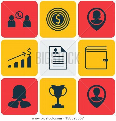 Set Of Human Resources Icons On Successful Investment, Business Goal And Business Woman Topics. Editable Vector Illustration. Includes Male, Prize, Increase And More Vector Icons.