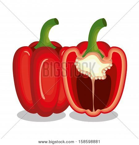 fresh paprica vegetable isolated icon vector illustration design