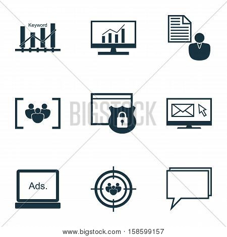 Set Of SEO Icons On Focus Group, Conference And Digital Media Topics. Editable Vector Illustration. Includes Online, Audience, Keyword And More Vector Icons.