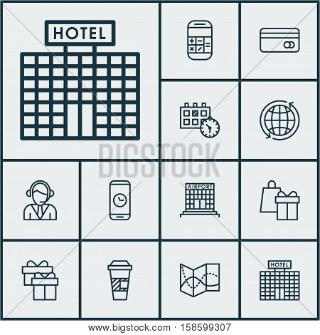 Set Of Traveling Icons On Call Duration, Calculation And Shopping Topics. Editable Vector Illustration. Includes Globe, Card, Time And More Vector Icons.