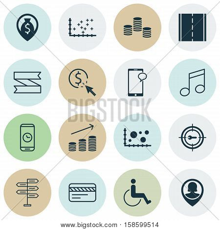 Set Of 16 Universal Editable Icons. Can Be Used For Web, Mobile And App Design. Includes Icons Such As Crotchets, Pin Employee, Blank Ribbon And More.
