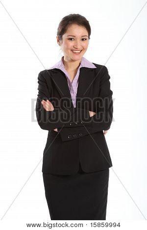 Confident woman in black suit