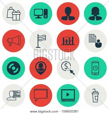 Set Of 16 Universal Editable Icons. Can Be Used For Web, Mobile And App Design. Includes Icons Such As Video Player, Conference, Drink Cup And More.