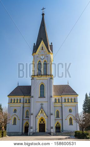 Evangelical church in Trinec is a neo-Gothic church with lancet windows Frydek-Mistek District in Czech Republic