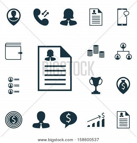 Set Of Human Resources Icons On Tournament, Money And Business Goal Topics. Editable Vector Illustration. Includes Map, Male, Cellular And More Vector Icons.