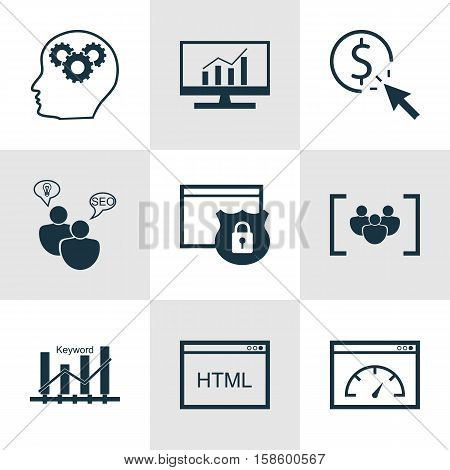 Set Of SEO Icons On Security, Loading Speed And PPC Topics. Editable Vector Illustration. Includes Focus, Per, Performance And More Vector Icons.