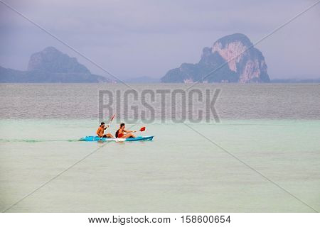 TRANG PROVINCE, THAILAND-NOV 22 : Couple of tourist were boating at Koh(island) Ngai, November 22,2016, in Trang Province, Thailand.