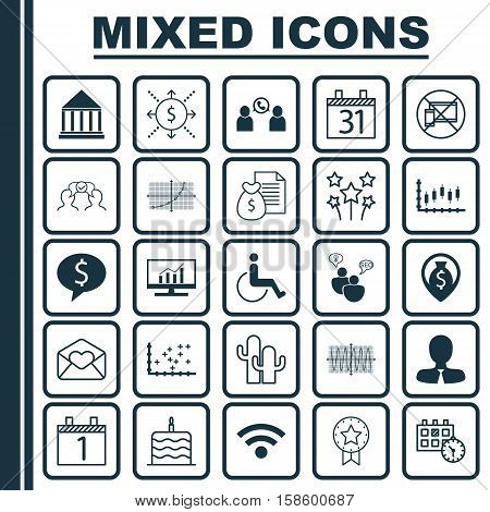 Set Of 25 Universal Editable Icons. Can Be Used For Web, Mobile And App Design. Includes Icons Such As Stock Market, Money Navigation, Phone Conference And More.