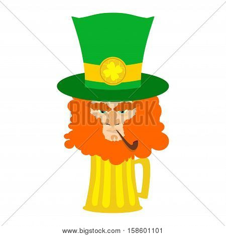 Leprechaun With Red Beard And Beer. St. Patricks Day Character. Irish Holiday