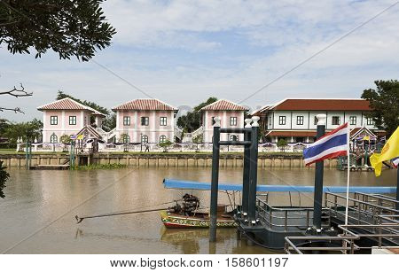 AYUTTHAYA, THAILAND - November 4, 2016: View of the Chao Phraya River in the Bang Pa-in region Thailand