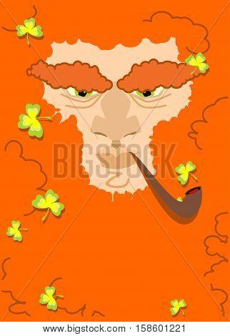Leprechaun With Red Beard. St. Patricks Day Character. Irish Holiday
