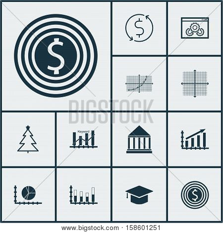 Set Of 12 Universal Editable Icons. Can Be Used For Web, Mobile And App Design. Includes Icons Such As Profit Graph, Graphical Grid, Line Grid And More.