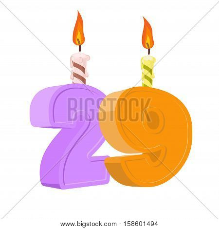 29 Years Birthday. Number With Festive Candle For Holiday Cake. Twenty Nine Anniversary