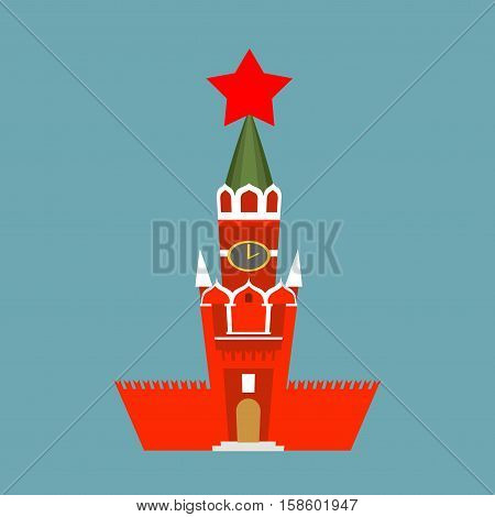 Moscow Kremlin Cartoon Style Isolated. Spasskaya Tower On Red Square Ni Russia. National Landmark In
